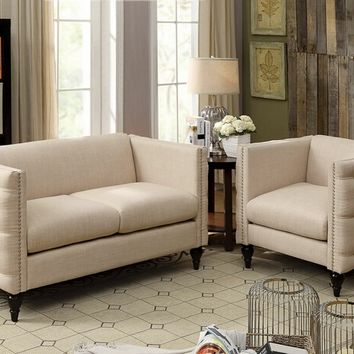 Furniture of america CM6780BG 2 pc emer collection beige fabric upholstered love seat and chair set with nail head trim