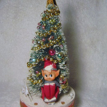 Vintage Christmas Knee Hugger Pixie Elf Santa Claus Bottle Brush Tree Music Box musical Loaded with Mercury Beads W/Box Japan Jingle Bells