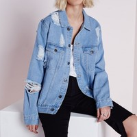 Missguided - Extreme Rip Oversized Denim Jacket