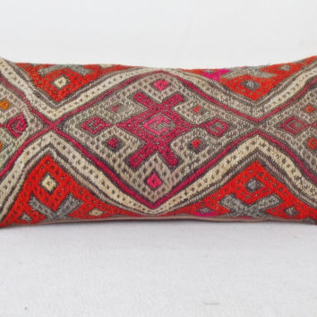 LUMBAR Anatolian Kilim Pillow Cover, Bright Orange Grey Handwoven Decorative Lumbar Pillow, Throw Piillow 10,6' x 22,8 ' INCH
