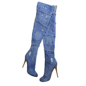 Woman Jeans Thigh High Boots Stretch Sexy Fashion Over the Knee Boots Shoes Woman High Heels