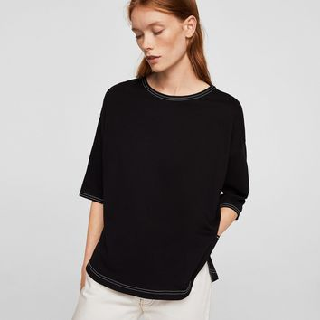 Seamed mercerised t-shirt - Women | MANGO USA
