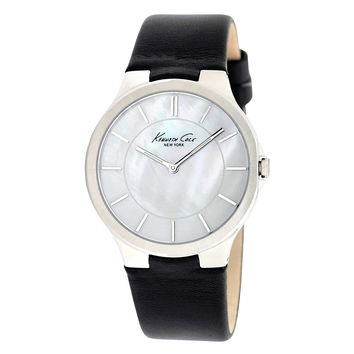 Kenneth Cole KC2706 Women's New York White MOP Dial Black Leather Strap Watch