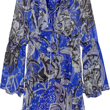 Emilio Pucci - Ruffled printed silk-chiffon mini dress