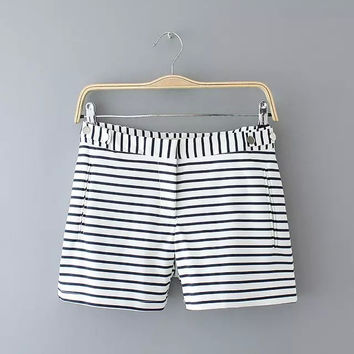 Summer Stripes High Rise Slim Casual Pants Shorts [4917819140]