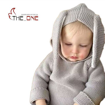 Baby Boys Girls 1-5T Autumn Winter Knitting Wool Bunny Ear Hoodies Children Hooded Homewear Clothing Kids Sweatshirts For Boys