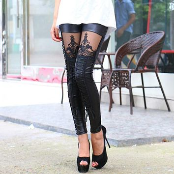 2017 Punk Women Leggings Embroidery Lace Up Skinny PU Leather Trousers Sexy Lace Patchwork Pants H9