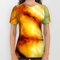 Unisex Tie Dye Digital Print T-Shirt Hippie T-Shirt Tropical T-Shirt Men's T-Shirt Women's T-Shirt Mixed Color T-Shirt Yellow Green Light