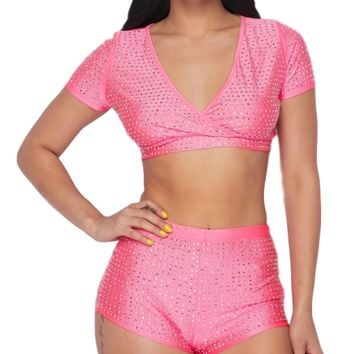 Vivacious Rhinestone V Neck Shirt & Shorts Set