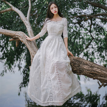 Ladies Petals Square Collar Half Sleeve Gauze Hook Flower Embroidery Big Swing Long Dress Summer Vacation