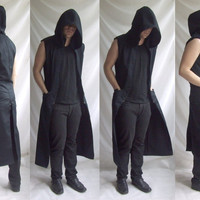 Sleeveless Reaper Hoodie ( long mens sleeveless coat related to gothic industrial post apocalyptic fashion)