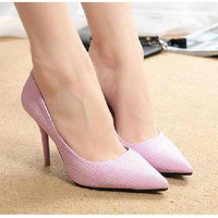 Summer Autumn Fashion women ladies high heels shoes office work shoes candy color sexy party supplies = 1958381508