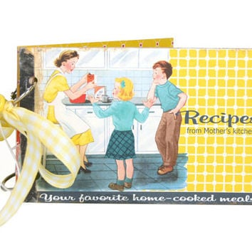 Kitschy retro style recipe book / vintage style recipe album / yellow with recipe cards / recipe organizer / cookbook / gift