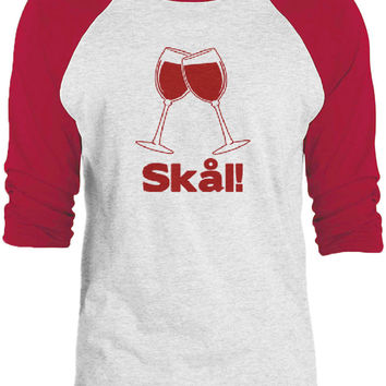 Big Texas Wine Glass Swedish Cheers (Red) 3/4-Sleeve Raglan Baseball T-Shirt