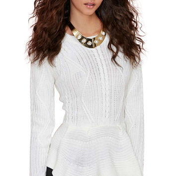 Solid Color Ruffles Splicing Sweater