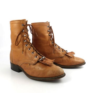 Roper Boots Vintage 1980s Laredo Distressed Leather Carmel tan Brown Granny Lace up Packer Women's size 8 1/2