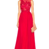 Zuhair Murad Embroidered Gown in Red | FWRD
