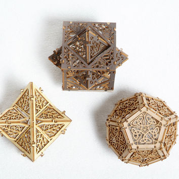 Model Kit - 3 Small Orbs - Unique Gift - Geometric Design - Lasercut - Architectural