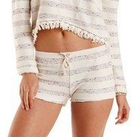 Oatmeal Striped French Terry Shorts by Charlotte Russe