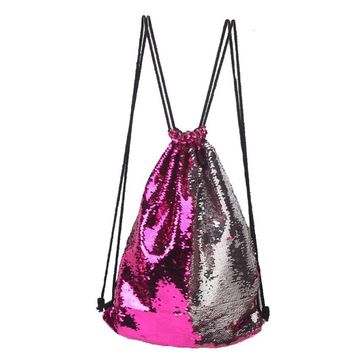 Sequins Drawstring Backpack Shoulder Bag Multi Color Travel Satchel