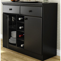 Black 2 Door Home Kitchen Wine Rack Buffet Pantry Cabinet Storage Drawer