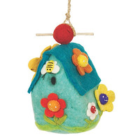 Wool Felted FLOWER HOUSE Birdhouse, decorative bird houses, fair trade gifts | Toad Hollow