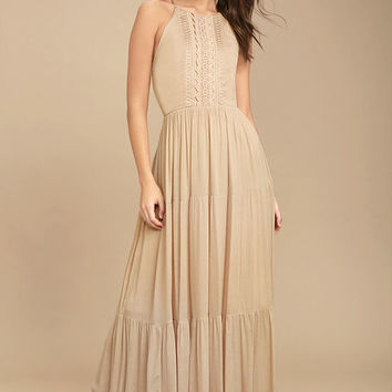 For Life Beige Embroidered Maxi Dress