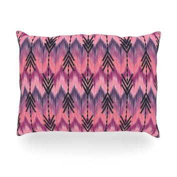 "Amanda Lane ""Indigo Orchid Chevron Arrows"" Pink Purple Oblong Pillow"