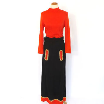 Vintage 1960s 1970s Long Maxi Gown 60s Hippie Dress 70s Avant Garde Groovy Black Orange Gold Lame Prom Gown Halloween Dress Witch Costume