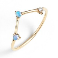 Women's WWAKE 'Counting Collection - Three-Step Triangle' Opal & Diamond Ring - Yellow Gold