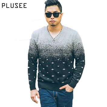 Plusee Knitted Sweater Men Polka Dot Pullover Men V-neck 2017 Autumn Plus Size Patchwork Loose Print Sweater Men Knitwear XL-6XL