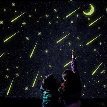 Fluorescent Romantic Meteor Shower Moon DIY Wall Stickers Night Glow in Dark Luminous Stars Kids Room Nursery Mural Decal