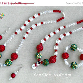 Snowmen Blitz- Handmade Jewelry Set-Holiday Jewelry-Christmas Jewelry-Ladies Jewelry-Girls Jewelry-Holiday Gift Ideas-Christmas Gift Ideas