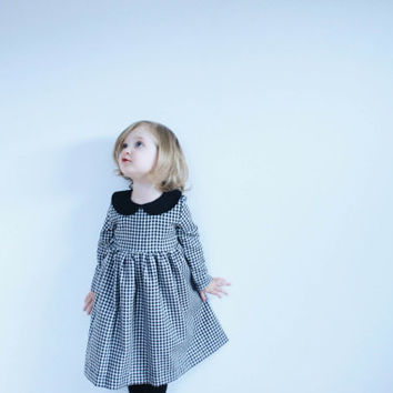 Black and White Gingham Dress -Black Peter Pan Collar – Toddlers Dress - Long Sleeved Dress - Handmade by OFFON