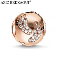 AZIZ Rose gold plated big hole diy charms crystal cute baby foot beads fit european pandora bracelet necklace women jewelry