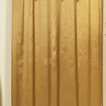 "Royal Bath Collection Diamond-Piqued Dobby Fabric Shower Curtain 70"" x 72"" (Gold)"