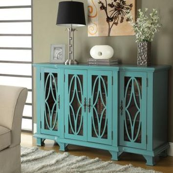 Coaster 950245 Teal blue finish wood and detailed carvings panel design hall console table with cabinets
