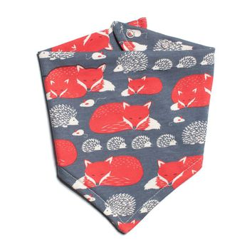 Foxes Kerchief Bib by Winter Water Factory