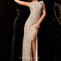 Scala 48410 Elegant Sequin Beaded Evening Gown