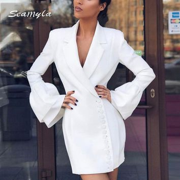 Seamyla 2018 New White Black Notched Slim Blazers High Quality Flare Sleeve Single Breasted Women Jackets Summer Casual Out Wear