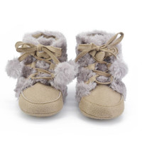 2016 New Baby Girls Boys Soft Snow Boots Toddler Infant Prewalker Fleece Crib Shoes 0-18M First Walkers
