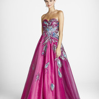 SALE! BLUSH 2011 Prom Dresses ** Fuchsia Peacock Embroidered Strapless Prom Gown - Sz. 0 to 10 - Unique Vintage - Bridesmaid & Wedding Dresses