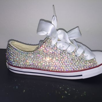 All Star Chuck Taylor Converse Bedazzled In AB Crystal White Ribbon Laces