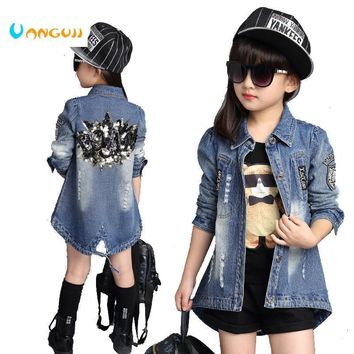 Trendy Children Denim Jacket 2016 Autumn Girls Cardigan Outerwear & Coat Girls Princess Long-Sleeved Trench Jacket Age 3-13 T AT_94_13