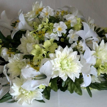 Premium Mixed Dahlia Headstone Spray - 36 Inch