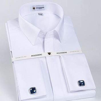Men's Solid White Slim Fit French Cuff Twill Dress Shirt with Covered Placket Long SLeeve Formal Top Shirts (Cufflinks Included)