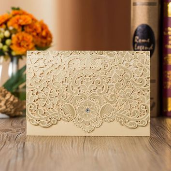 350pcs Gold Laser Cut Luxury Flora Wedding Invitations Card Elegant Diamond Lace Favor Envelopes Wedding Event & Party Supplies
