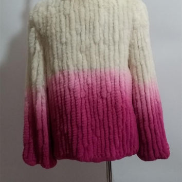 Sale Hand knitted Rabbit fur jacket O collar Gradient White to Pink Knit sweater Coat Sweater pattern Hand woven outwear Super Chunky Jacket