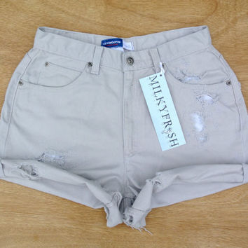 "High Waisted Cuffed Khaki Shorts Size 4/6 Milky Fr3sh ""Fiona"""