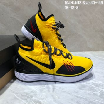 HCXX N678 Nike Zoom KD11 Mid XI Men Actual Baketball Shoes Yellow Black Red